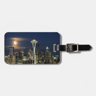 Washington, Seattle, Skyline at night from Kerry 1 Luggage Tag