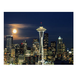Washington, Seattle, Skyline at night from Kerry 1 Postcard