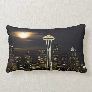 Washington, Seattle, Skyline at night from Kerry 2 Lumbar Pillow