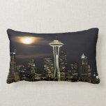 Washington, Seattle, Skyline at night from Kerry 2 Pillows