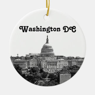 Washington Skyline Etched Ceramic Ornament
