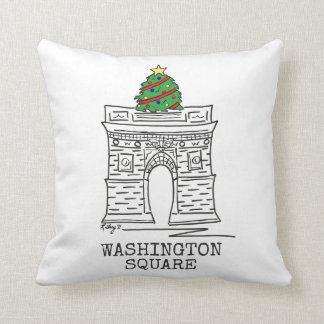 Washington Square Arch Tree NYC Christmas Pillow
