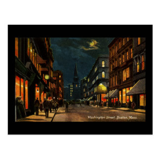 Washington St Boston MA at Night Postcard
