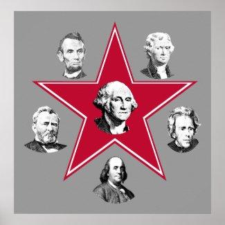 Washington Star and 5 American Patriots print