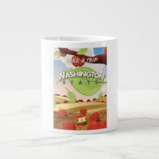 Washington State Apple tree Travel Poster Cartoon Giant Coffee Mug