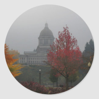 Washington State Capitol in Fog - photograph Classic Round Sticker