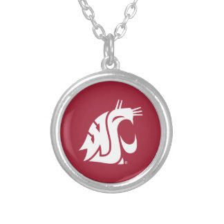 Washington State Cougar Silver Plated Necklace