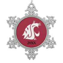 Washington State Cougar Snowflake Pewter Christmas Ornament