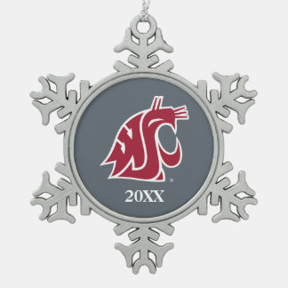 Washington State Cougar Snowflake Pewter Christmas Ornament