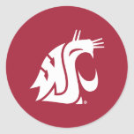 Washington State Cougar - White Classic Round Sticker