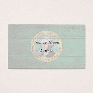 Washington State Flag on Old Wood Grain Business Card