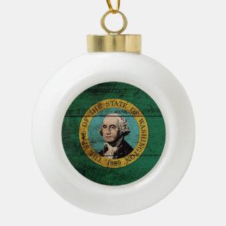 Washington State Flag on Old Wood Grain Ceramic Ball Christmas Ornament