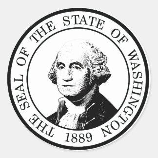 Washington State Flag Posterized Classic Round Sticker