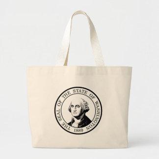 Washington State Flag Posterized Large Tote Bag