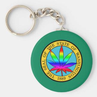 Washington State Flag with Leaf and Rainbow Colors Key Chain