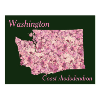 Washington State Flower Collage Map Postcard