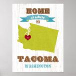 Washington State Map Art- Love Tacoma Art Posters