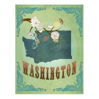 Washington State Map – Green Postcard
