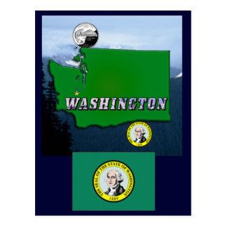 Washington State Map, Quarter, Seal and Mountains Postcard