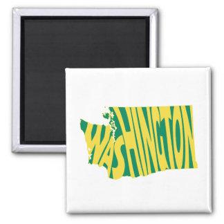 Washington State Name Word Art Yellow Magnet
