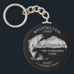 "Washington State Quarter Keychain<br><div class=""desc"">This design features the Washington State quarter of 2007. &quot;The Evergreen State, &quot; features a king salmon breaching the water in front of majestic Mount Rainier. Created from a United States Mint image.</div>"