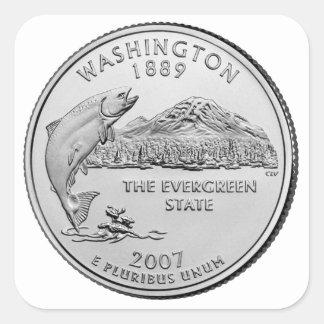 Washington State Quarter Square Sticker