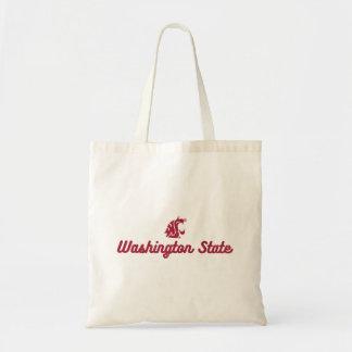 Washington State   Retro Script Logo Tote Bag