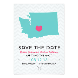 "Washington State Save the Date  - Blue and Pink 5"" X 7"" Invitation Card"