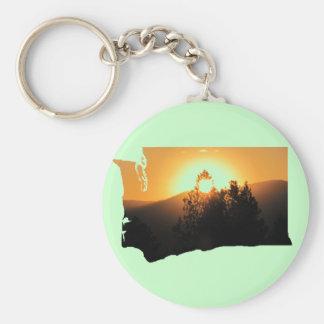 Washington State Sunset Silhouette Keychain