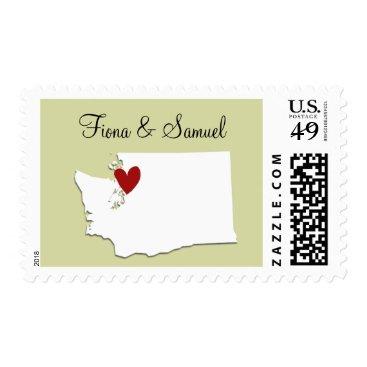 alacartepaperie Washington State USA Map Customizable Wedding Stam Postage