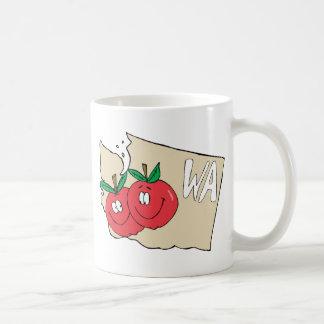 Washington State WA Cartoon Map with Apple Art Classic White Coffee Mug