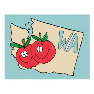 Washington State WA Cartoon Map with Apple Art Postcard