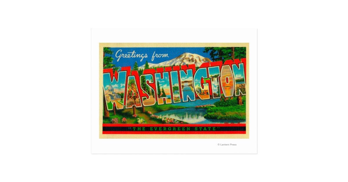 Washington the evergreen state postcard zazzle for Build your own home washington state