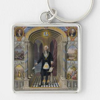 Washington The Mason II Silver-Colored Square Keychain