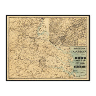 Washington to Richmond Civil War Map (1864) Canvas Print