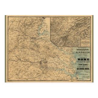 Washington to Richmond Civil War Map (1864) Postcard