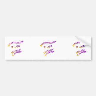Washington usa world country, colorful text art bumper sticker