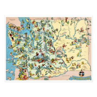 Washington Vintage Map Postcard