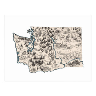 Washington Vintage Picture Map Postcard