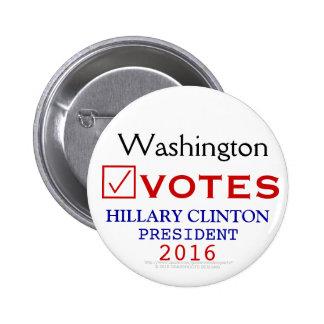 Washington Votes Hillary Clinton President 2016 Pinback Button