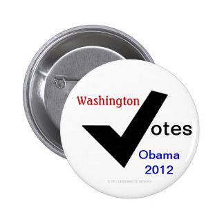 Washington Votes Obama 2012 Pinback Button