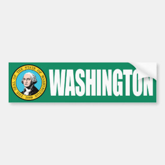 Washington with State Flag Bumper Sticker