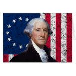 Washington y la bandera americana felicitacion