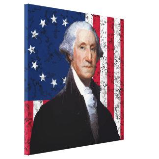Washington y la bandera americana lienzo envuelto para galerias