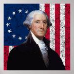 Washington y la bandera americana póster