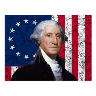 Washington y la bandera americana postal