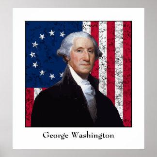 Washington y la bandera de los E.E.U.U. Poster