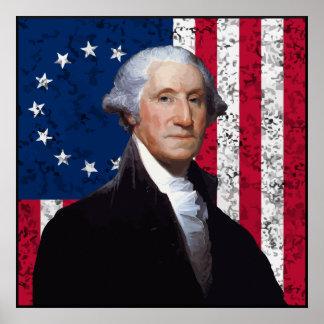 Washington y la bandera de los E.E.U.U. Posters