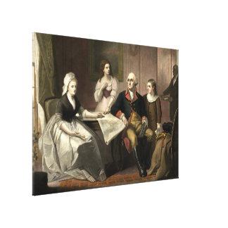 Washington y su Mezzotint de la familia de C. Impresión En Lienzo Estirada