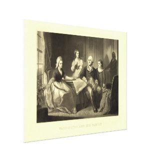 Washington y su Mezzotint de la familia de C. Impresión En Lona Estirada